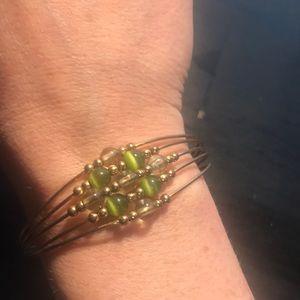 Jewelry - Silvertone over brass cuff style bracelet w/beads